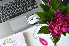 Travailler en indépendant et travailler de la maison Bureau de mode de vie féminin et de travail créatif Image libre de droits