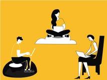 Travailler femelle à la technologie et aux nuages illustration libre de droits