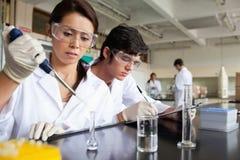 Travailler sérieux d'étudiants de la science Photos stock