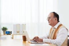 Travailler sur l'ordinateur portable image libre de droits