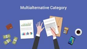 Travailler sur le concept multialternative de catégorie avec des écritures sur l'illustration de table Images stock