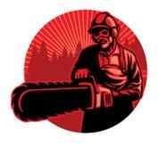 Travailleur à l'aide de la tronçonneuse illustration de vecteur