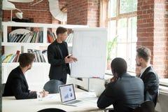 Travailleur ambitieux présent des idées d'affaires sur le flipchart photographie stock