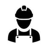 Travailleur avec l'icône de casque antichoc illustration stock