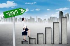 Travailleur avec le graphique du trafic de site Web Photos stock