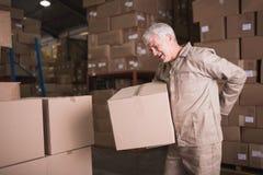 Travailleur avec le mal de dos tout en soulevant la boîte dans l'entrepôt Photo libre de droits