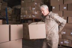 Travailleur avec le mal de dos tout en soulevant la boîte dans l'entrepôt Photographie stock