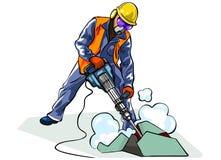 Travailleur avec le marteau piqueur Image libre de droits