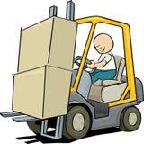 Travailleur conduisant un chariot élévateur Photo libre de droits