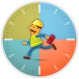 Travailleur courant à l'heure illustration stock