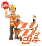 travailleur 3D avec le signe d'arrêt En construction Images libres de droits