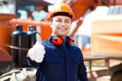 Travailleur dans un chantier de construction Photographie stock libre de droits