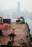 Travailleur de la construction à Hong Kong Photos libres de droits