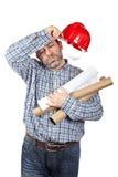 Travailleur de la construction épuisé images stock