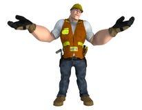 Travailleur de la construction avec des mains tendues et regardantes vers le haut illustration de vecteur