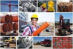 Travailleur de la construction avec des photos de chantier de tuyau et de construction photographie stock