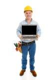 Travailleur de la construction avec le message Image stock