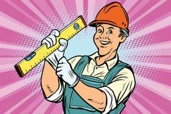 Travailleur de la construction avec le niveau illustration de vecteur