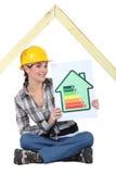 Travailleur de la construction avec le signe de notation photographie stock libre de droits