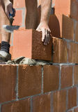 Travailleur de la construction construisant un mur Photographie stock libre de droits
