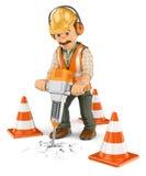 travailleur de la construction 3D avec un briseur hydraulique tenu dans la main illustration libre de droits
