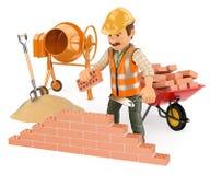 travailleur de la construction 3D construisant un mur de briques Photographie stock libre de droits