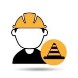 travailleur de la construction d'homme d'avatar avec l'icône d'avertissement de cône Photo libre de droits