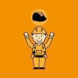 travailleur de la construction d'homme d'avatar avec l'icône de casque illustration libre de droits