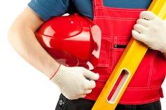 Travailleur de la construction dans l'uniforme Photo stock
