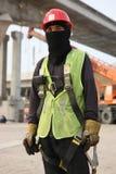 Travailleur de la construction de métro de Dubaï images libres de droits