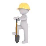 Travailleur de la construction Digging de bande dessinée avec la pelle Photo libre de droits