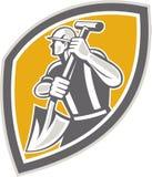 Travailleur de la construction Digging Shovel Retro Image libre de droits