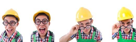 Travailleur de la construction dr?le d'isolement sur le blanc images stock