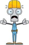 Travailleur de la construction effrayé par bande dessinée Robot illustration stock