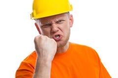 Travailleur de la construction fâché Image libre de droits