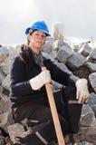 Travailleur de la construction féminin photographie stock
