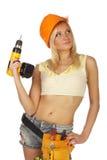 Travailleur de la construction féminin sexy Photographie stock libre de droits