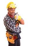 Travailleur de la construction heureux Photographie stock