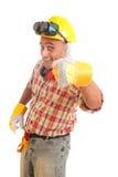 Travailleur de la construction heureux image stock