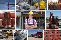 Travailleur de la construction heureux avec des photos de chantier de construction image libre de droits