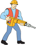 Travailleur de la construction Holding Jackhammer Cartoon Photos stock