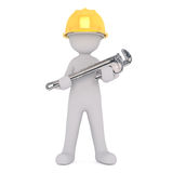 Travailleur de la construction Holding Large Wrench de bande dessinée illustration stock
