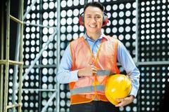 Travailleur de la construction indonésien asiatique sur le chantier Photographie stock libre de droits