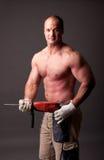 Travailleur de la construction musculaire images stock