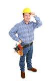 Travailleur de la construction réel - chapeau d'extrémités Image libre de droits