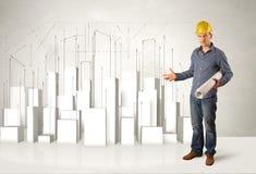 Travailleur de la construction surfaçant avec les bâtiments 3d à l'arrière-plan Photographie stock