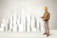 Travailleur de la construction surfaçant avec les bâtiments 3d à l'arrière-plan Photographie stock libre de droits