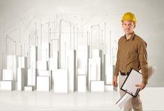 Travailleur de la construction surfaçant avec les bâtiments 3d à l'arrière-plan Image stock