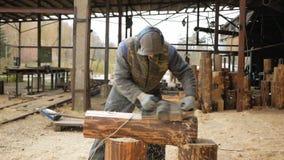 Travailleur de la construction surfaçant un morceau de bois pour un projet de construction La construction rectifie l'avion élect banque de vidéos