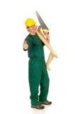 Travailleur de la construction, vert image stock